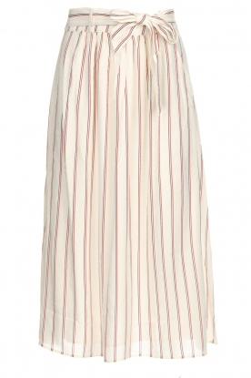 Des Petits Hauts |  Striped midi skirt Rimette | white