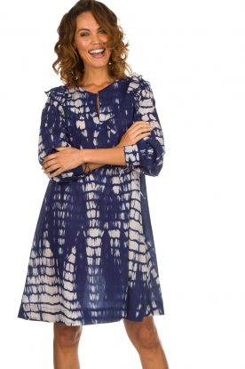 Antik Batik |  Dress with print Atlas | blue