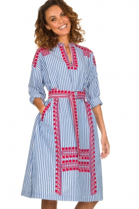 Antik Batik |  Striped midi dress with embroideries Jackie | blue