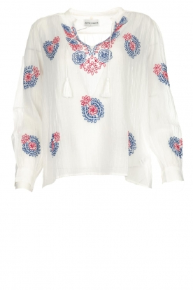 Antik Batik |  Top with embroideries Ryma | white