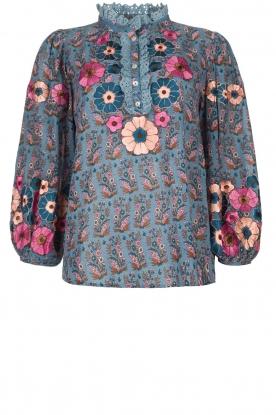 Antik Batik    Blouse with floral print Pauline   blue