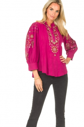 Antik Batik | Geborduurde katoenen blouse Cami | roze