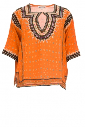 Antik Batik |  Embroidered blouse Toki | orange