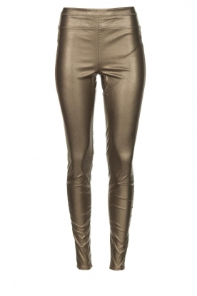 Knit-ted | Faux leather metallic legging Amber | metallic