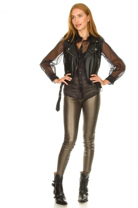 Look Faux leather metallic leggings Amber