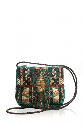 Antik Batik |  Beaded embroidered shoulder bag Mauri | green