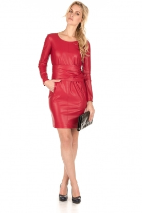 Faux-leather jurk Candice | rood
