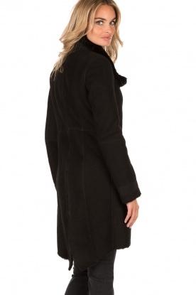 Patrizia Pepe | Suède lammy coat Cappott | zwart