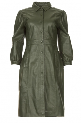 STUDIO AR | Leren jurk met pofmouwen Jamil | groen