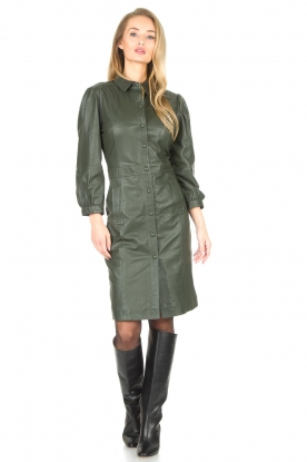 Look Leather dress with puff sleeves Jamil