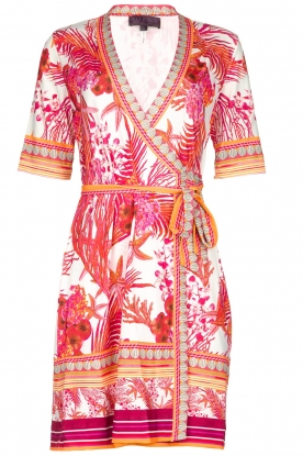 Hale Bob |  Wrap dress with floral print Coral | pink