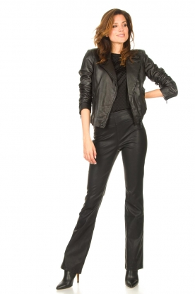 Knit-ted |  Faux leather flared pants Afke | black