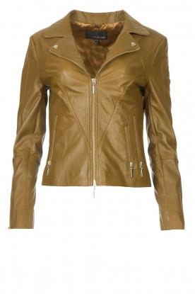 STUDIO AR    Leather biker jacket Cherry   safari