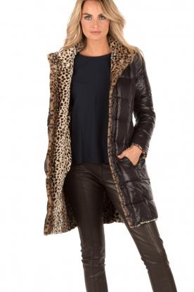 Patrizia Pepe | Faux fur reversible luipaardjas Duvet | luipaardprint
