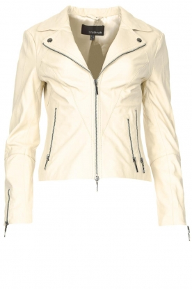 STUDIO AR    Leather biker jacket Cherry   natural
