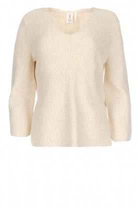 Knit-ted | Trui met V-hals Leonie | naturel