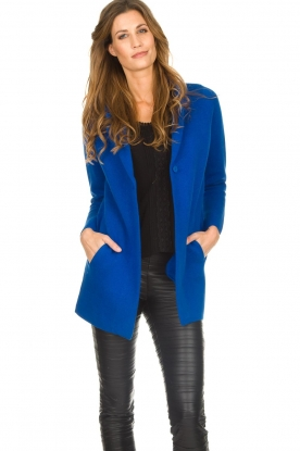 Knit-ted |  Cardigan with blazer details Sammie | blue