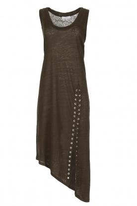 IRO | Schuin afgesneden jurk Karossi | groenbruin