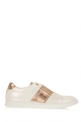 SVNTY |  Leather shoe Valentina | pearl white and gold