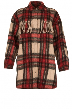 IRO |  Checkered coat with fringes Cocha | red