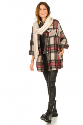 Look Checkered coat with fringes Cocha
