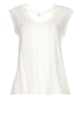Knit-ted |  Top with lace Hanna | white