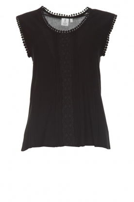 Knit-ted |  Top with lace Hanna | black