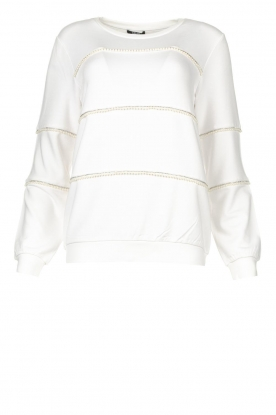 Liu Jo | Sweater with pearls Stripe | white