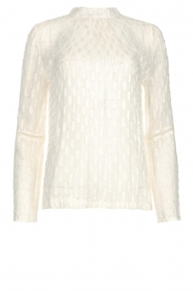Knit-ted |  See-through blouse with golden details Drew | white