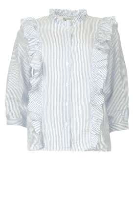 Lolly's Laundry |  Blouse with ruffles Hanni | light blue