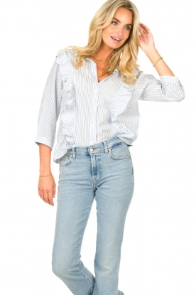 Lolly's Laundry |  Blouse with ruffles Hanni | blue