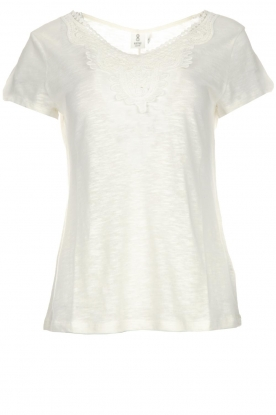 Knit-ted |  Top with crocheted detail Hilde | white
