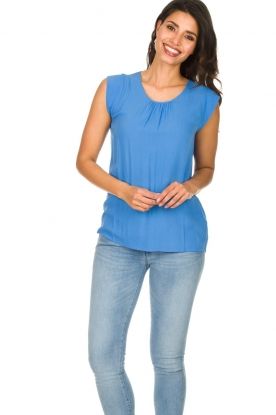 Knit-ted |  Top with tiny pleats Fay | blue