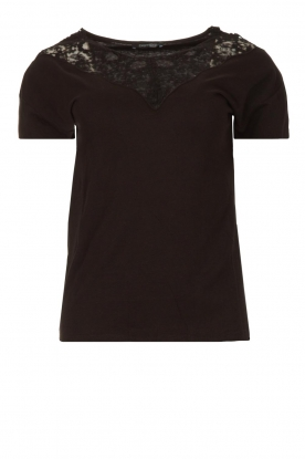 Fracomina |  Top with lace Genny | black