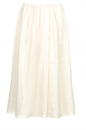Knit-ted |  Midi skirt with sheen finish Vinci | white