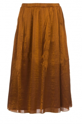 Knit-ted |  Midi skirt with sheen finish Vinci | brown