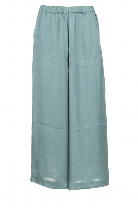 Knit-ted |  Shiny wide pants Vonda | green