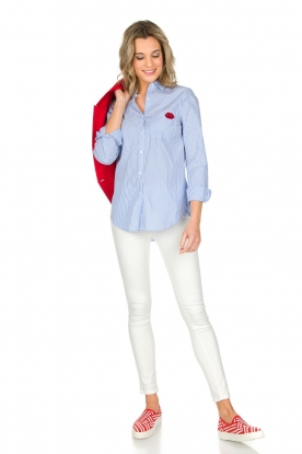 Essentiel Antwerp   Gestreepte blouse Paksoi   blauw