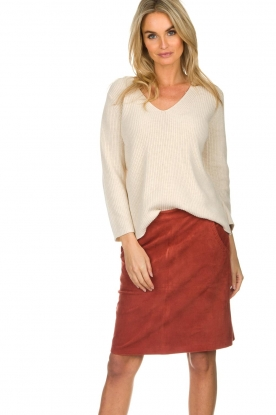 Knit-ted |  Skirt with suede look Pascal | brown