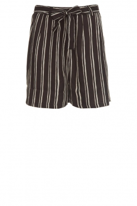 Knit-ted |  Shorts with vertical stripes Gisele | black