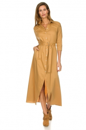 Patrizia Pepe |  Midi shirt dress with waistbelt Zita | camel