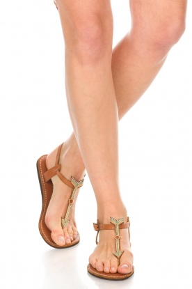 Laidback London | Leren sandalen East | groen