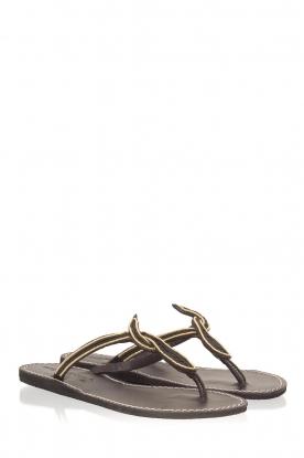 Laidback London | Leren slippers Lana | zwart