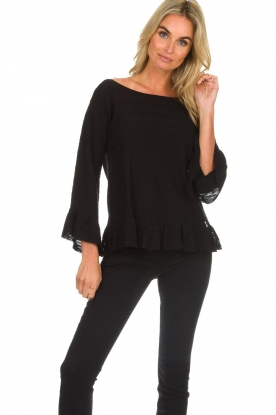 Patrizia Pepe |  Sweater with ruffles Ylona | black