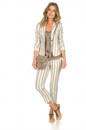 Patrizia Pepe |  Striped trousers Ella | natural