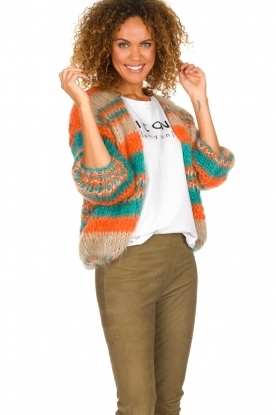 Les tricots d'o |   Mohair cardigan Haley | camel