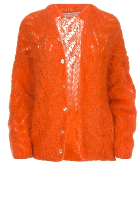 Les tricots d'o |  Wool cardigan Eline | orange