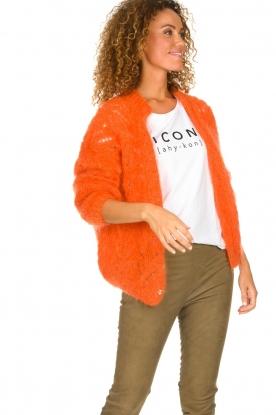 Les tricots d'o |  Mohair cardigan Eline | orange