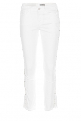 Hunkydory |  Cropped jeans with lace-up sides Harley | white
