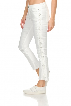Hunkydory   Cropped jeans met lace-up zijkanten Harley   wit